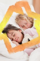Composite image of portrait of siblings sleeping