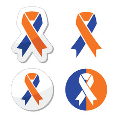 Navy blue and orange ribbons - family caregivers awareness icons