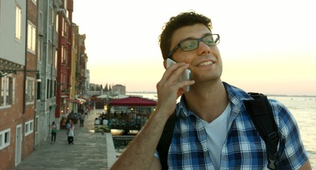 Young Business Man Success Talking On Phone Travel Vacation