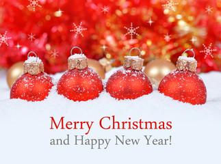 Christmas decorations on defocused lights background