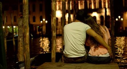Romantic Couple Hugging Pier Venice Italy Romance Vacation