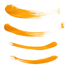 Curved oil paint brush strokes isolated