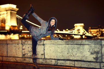 Dynamic woman posing in Budapest vintage style