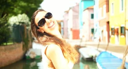 Beautiful Young Shopper Fashionable Girl Italy Shopping Bags