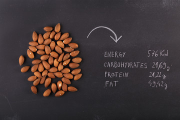Almonds on dark chalkboard with copy-space