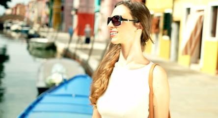Beautiful Fashion Smiling Woman Shopping Vacation Travel Holiday