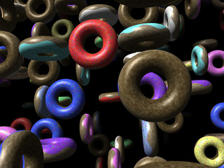Flying donuts generated 3D background