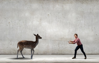 Man with deer