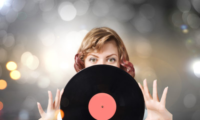 Woman with disco plate