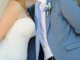 Embracing Bride and Groom