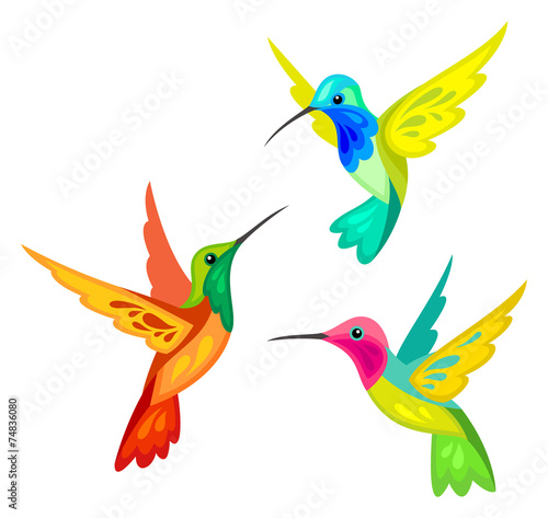 Stylized Hummingbirds - 74836080