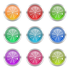spider web colorful vector icon set
