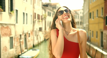Fashion Tourist Woman Talking Cell Phone Vacation Italy Travel
