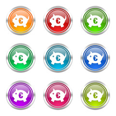 piggy bank colorful vector icons set