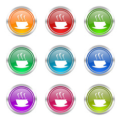 coffee colorful vector icons set