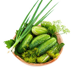 Cucumbers and vegetables and dill leaves still life in wooden bo