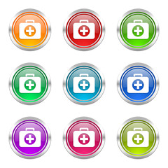 first aid colorful vector icons set