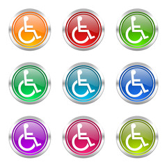 wheelchair colorful vector icons set