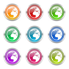 earth colorful vector icons set