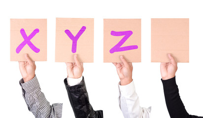 Placard with alphabets from X to Z in magenta color