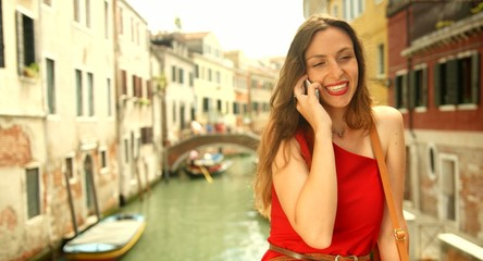 Beautiful Young Woman Red Dress Travel Vacation Smiling