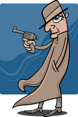 detective or gangster cartoon illustration