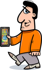 man with smart phone cartoon