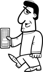 man with smart phone coloring page