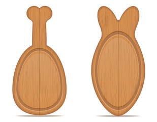 wooden cutting board in the form of chicken legs and fish vector