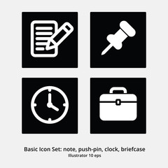 Basic Office Icon Set: Note, Push Pin, Clock, Briefcase