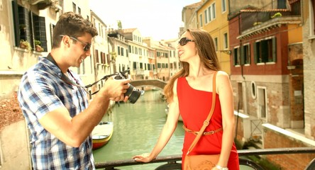 Photographer taking Pictures Fashion Model Woman Italy Venice