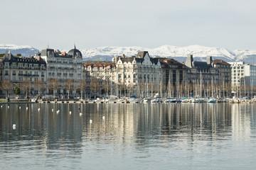 View of the city and Lake Geneva in Switzerland