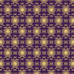 ornate golden flowers on violet background. seamless pattern ve