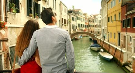 Happy Romantic Couple Standing On Bridge Venice Romance Italy