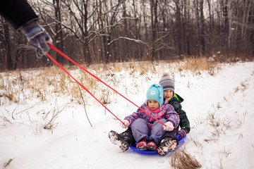 Two children with sled in a forest