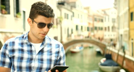 Young Business Man Tablet Pc Italy Travel Technology Concept