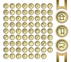 Golden interface buttons.