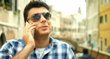 Young Businessman Talking Cellphone Italy Business Travel