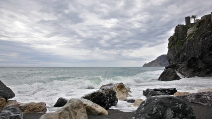 Cloudy morning on the bank of the Ligurian Sea, Vernazza, Italy
