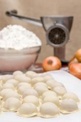 Russian dumplings. The process of cooking.