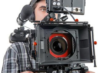 a cameraman with DSLR camera