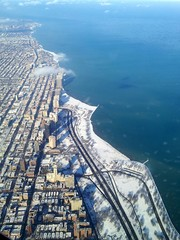 Landing to snowy Chicago