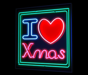Neon I love Christmas sign green and red