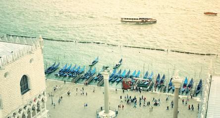 Venice Aerial San Marco Gondola Pier Gondolas People