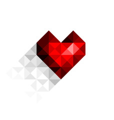 Vector heart with shadow on the background for your design
