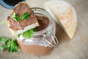 homemade liver pate with bread