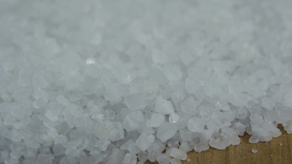 Close up of sea salt in 3840X2160 4K UHD video.