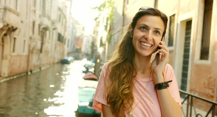 Beautiful Young Happy Woman Talking Cellphone Vacation Travel