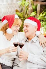 Christmas senior couple