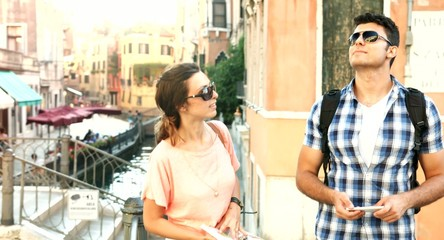 Happy Young Couple Traveling Vacation Italy Holiday Europe